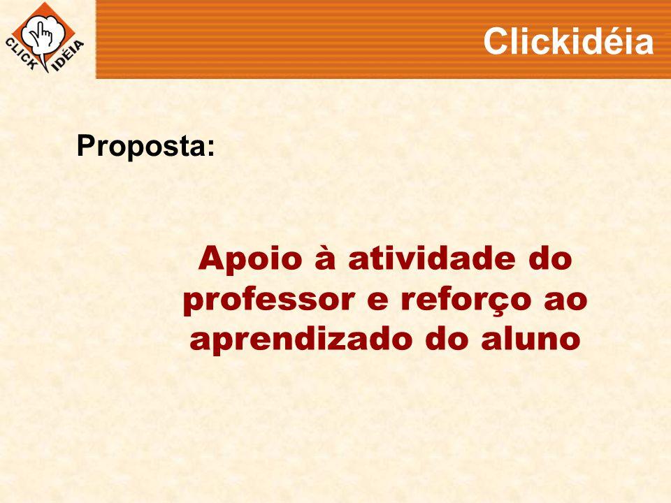Apoio à atividade do professor e reforço ao aprendizado do aluno Clickidéia Proposta:
