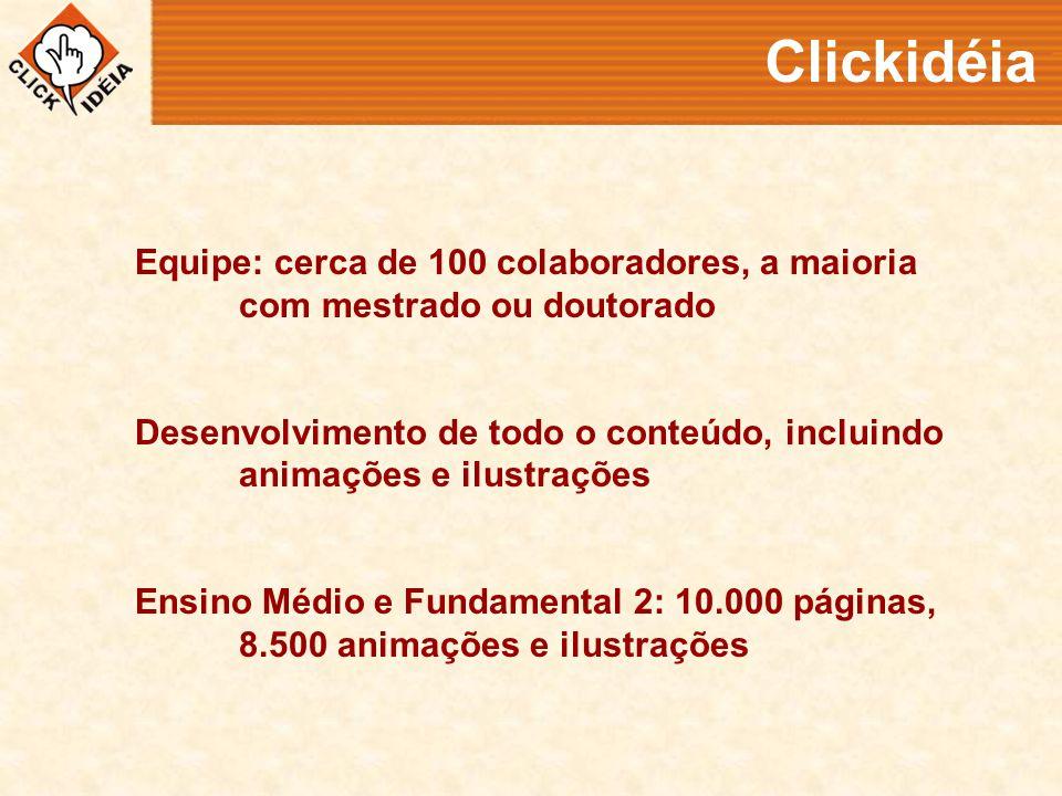 Clickidéia Equipe: cerca de 100 colaboradores, a maioria com mestrado ou doutorado Desenvolvimento de todo o conteúdo, incluindo animações e ilustrações Ensino Médio e Fundamental 2: 10.000 páginas, 8.500 animações e ilustrações