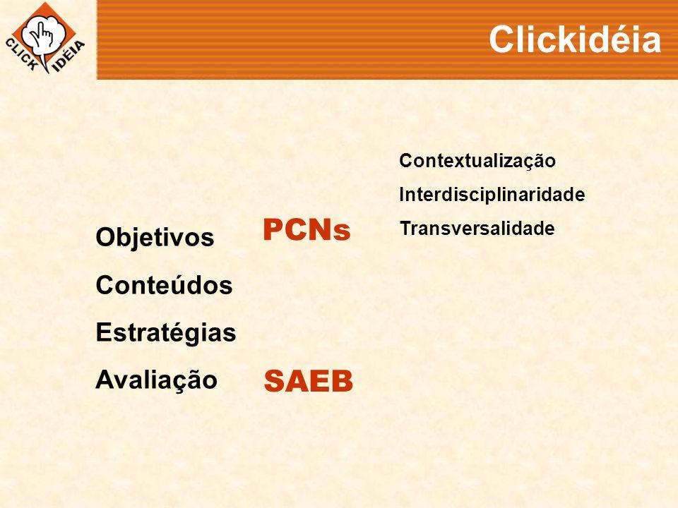 Projeto Objetivos Conteúdos Estratégias Avaliação PCNs Contextualização Interdisciplinaridade Transversalidade SAEB Clickidéia