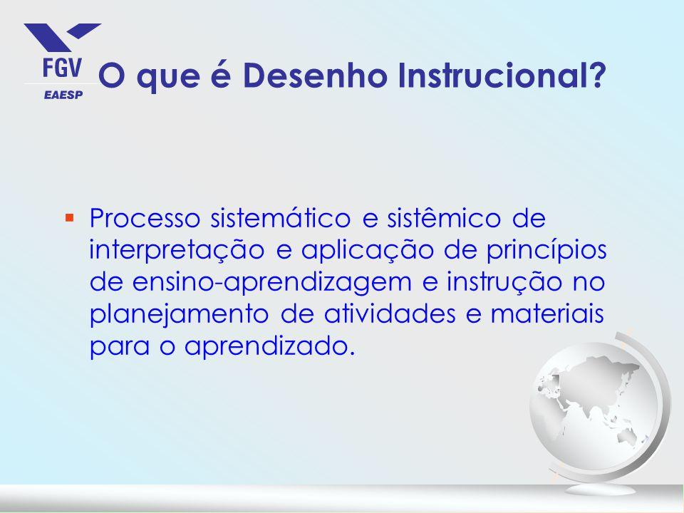 O que é Desenho Instrucional? §Processo sistemático e sistêmico de interpretação e aplicação de princípios de ensino-aprendizagem e instrução no plane
