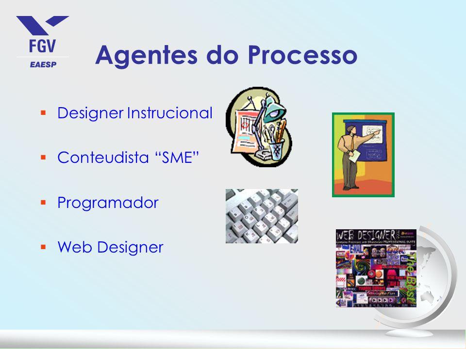 Agentes do Processo §Designer Instrucional §Conteudista SME §Programador §Web Designer