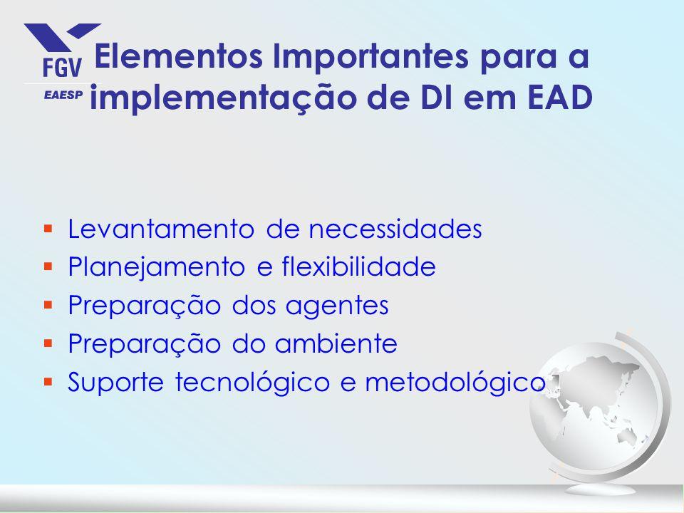 Elementos Importantes para a implementação de DI em EAD §Levantamento de necessidades §Planejamento e flexibilidade §Preparação dos agentes §Preparaçã