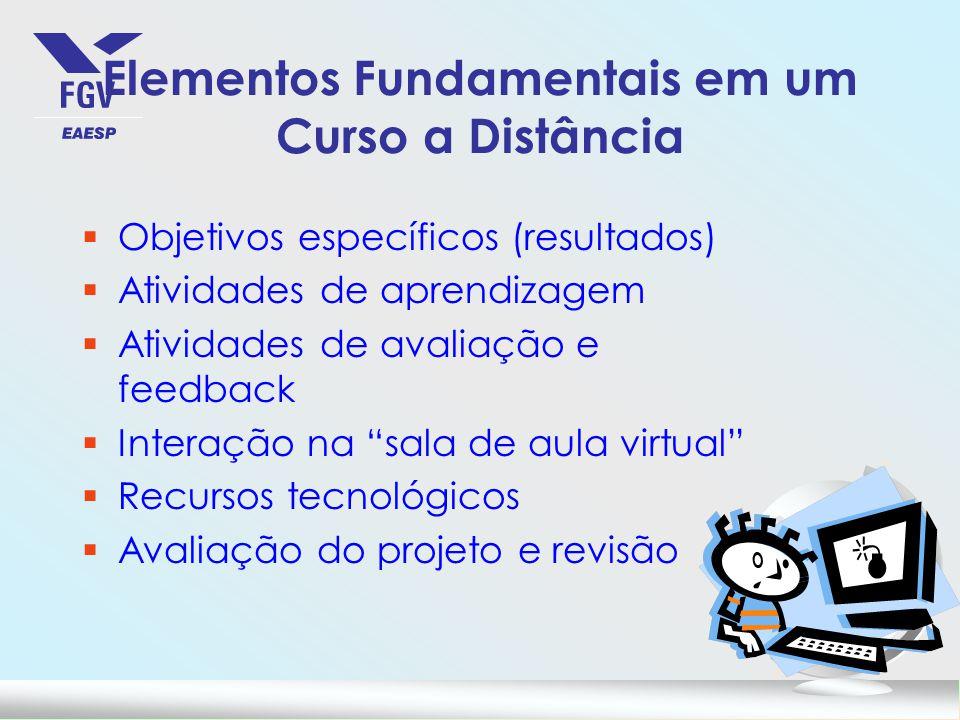 Elementos Fundamentais em um Curso a Distância §Objetivos específicos (resultados) §Atividades de aprendizagem §Atividades de avaliação e feedback §In