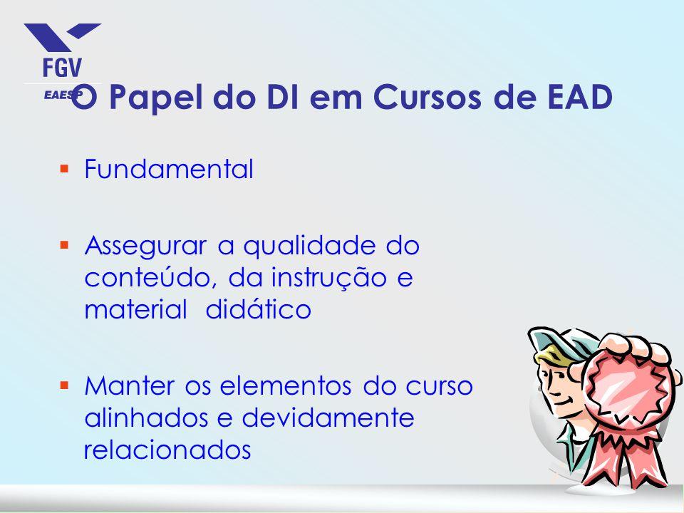 O Papel do DI em Cursos de EAD §Fundamental §Assegurar a qualidade do conteúdo, da instrução e material didático §Manter os elementos do curso alinhad