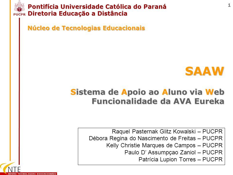 PUCPR 1 Pontifícia Universidade Católica do Paraná Diretoria Educação a Distância Raquel Pasternak Glitz Kowalski – PUCPR Débora Regina do Nascimento