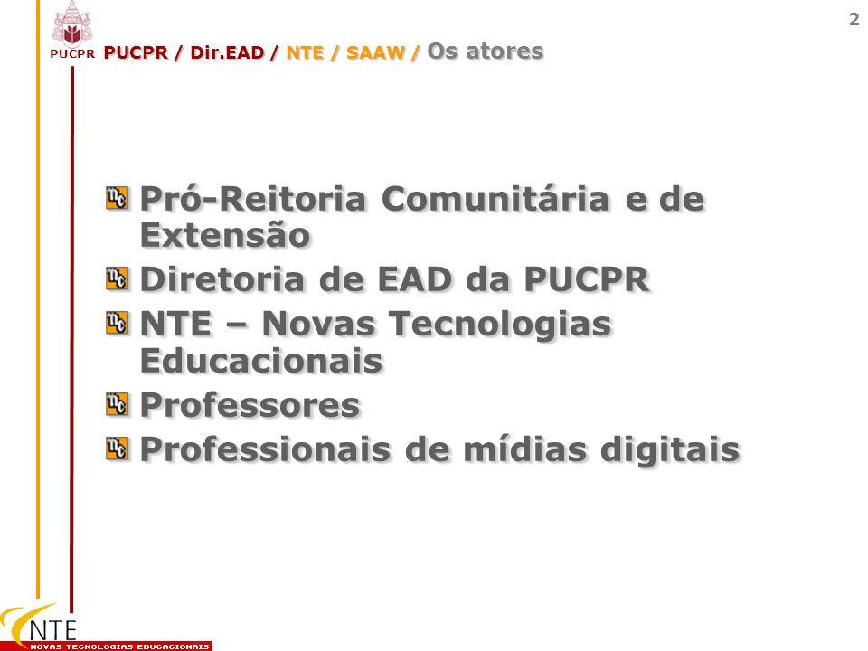 PUCPR 2 PUCPR / Dir.EAD / NTE / SAAW / Os atores Pró-Reitoria Comunitária e de Extensão Diretoria de EAD da PUCPR NTE – Novas Tecnologias Educacionais