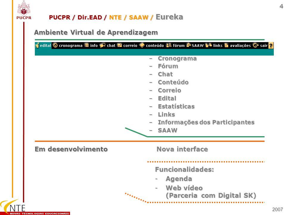 PUCPR 4 Ambiente Virtual de Aprendizagem 2007 –Cronograma –Fórum –Chat –Conteúdo –Correio –Edital –Estatísticas –Links –Informações dos Participantes