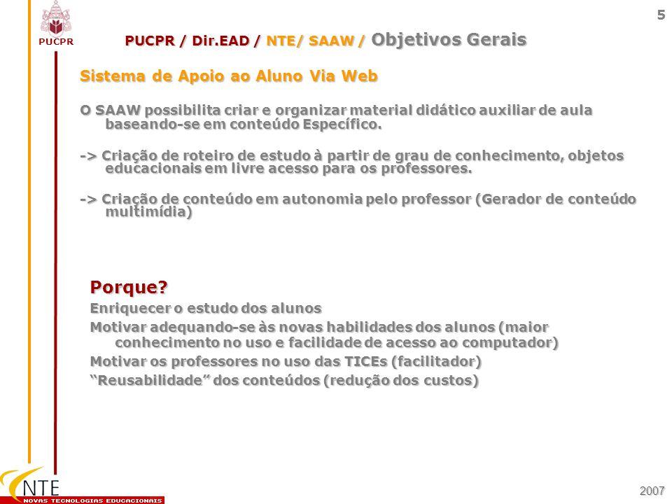 PUCPR 5 Sistema de Apoio ao Aluno Via Web O SAAW possibilita criar e organizar material didático auxiliar de aula baseando-se em conteúdo Específico.