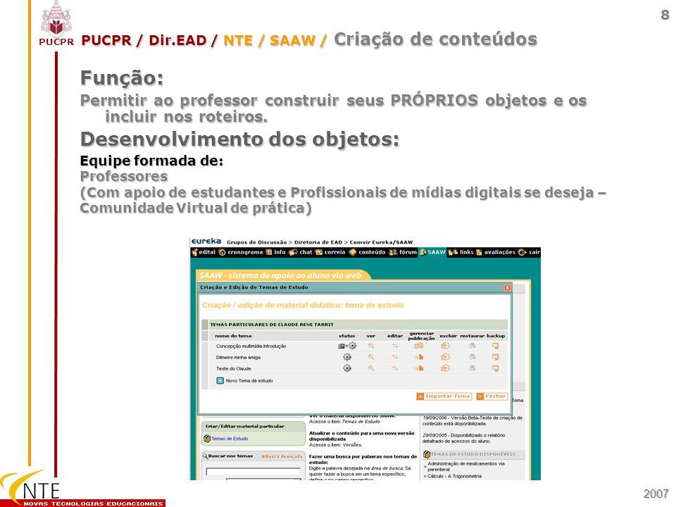 PUCPR 8 Equipe formada de: Professores (Com apoio de estudantes e Profissionais de mídias digitais se deseja – Comunidade Virtual de prática) Função: