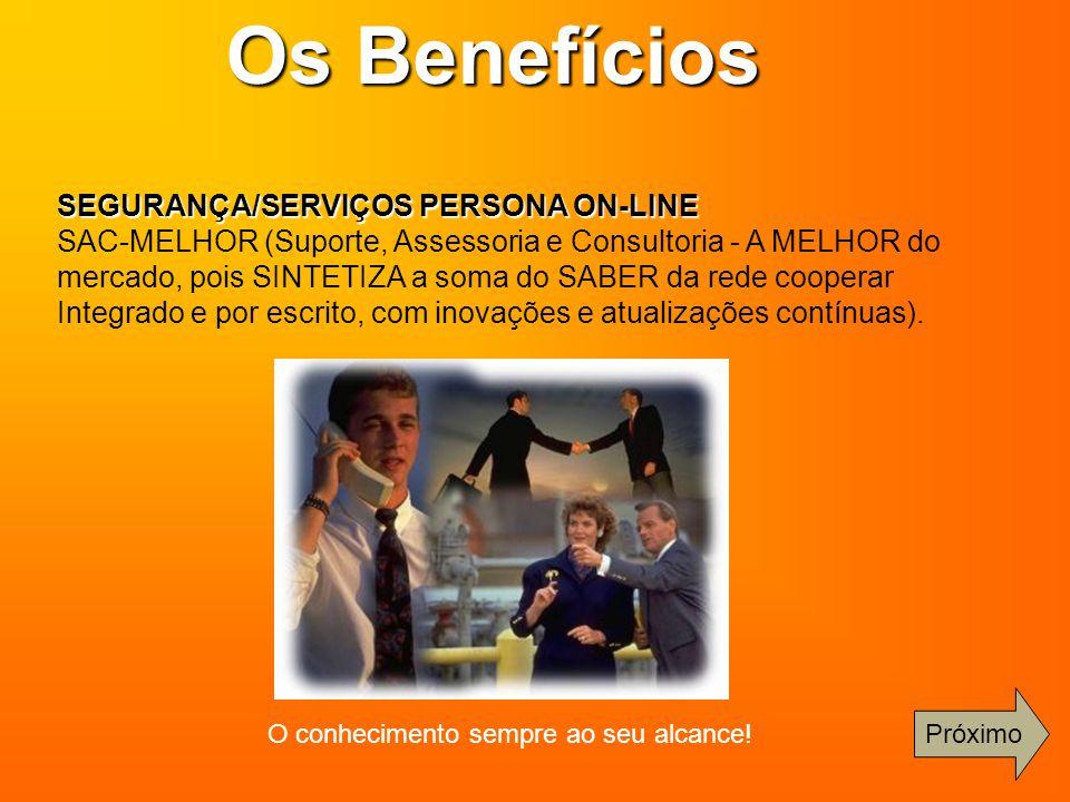 SEGURANÇA/SERVIÇOS PERSONA ON-LINE SAC-MELHOR (Suporte, Assessoria e Consultoria - A MELHOR do mercado, pois SINTETIZA a soma do SABER da rede coopera
