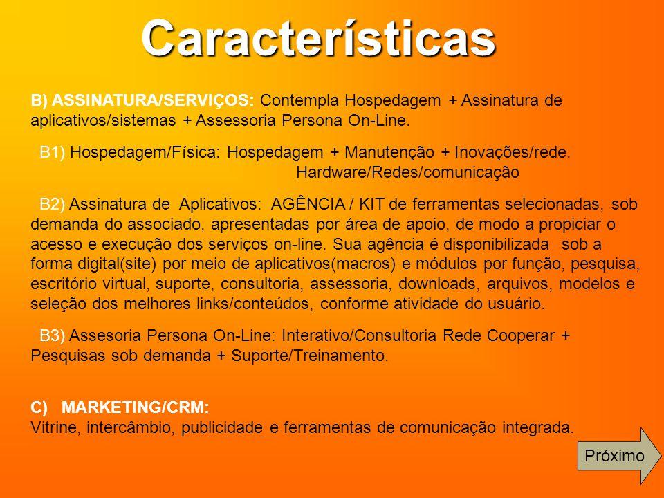 Características B) ASSINATURA/SERVIÇOS: Contempla Hospedagem + Assinatura de aplicativos/sistemas + Assessoria Persona On-Line. B1) Hospedagem/Física: