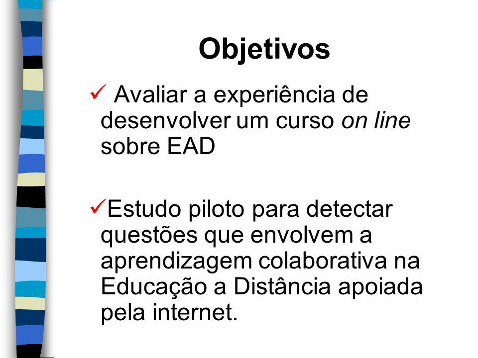 Objetivos Avaliar a experiência de desenvolver um curso on line sobre EAD Estudo piloto para detectar questões que envolvem a aprendizagem colaborativa na Educação a Distância apoiada pela internet.