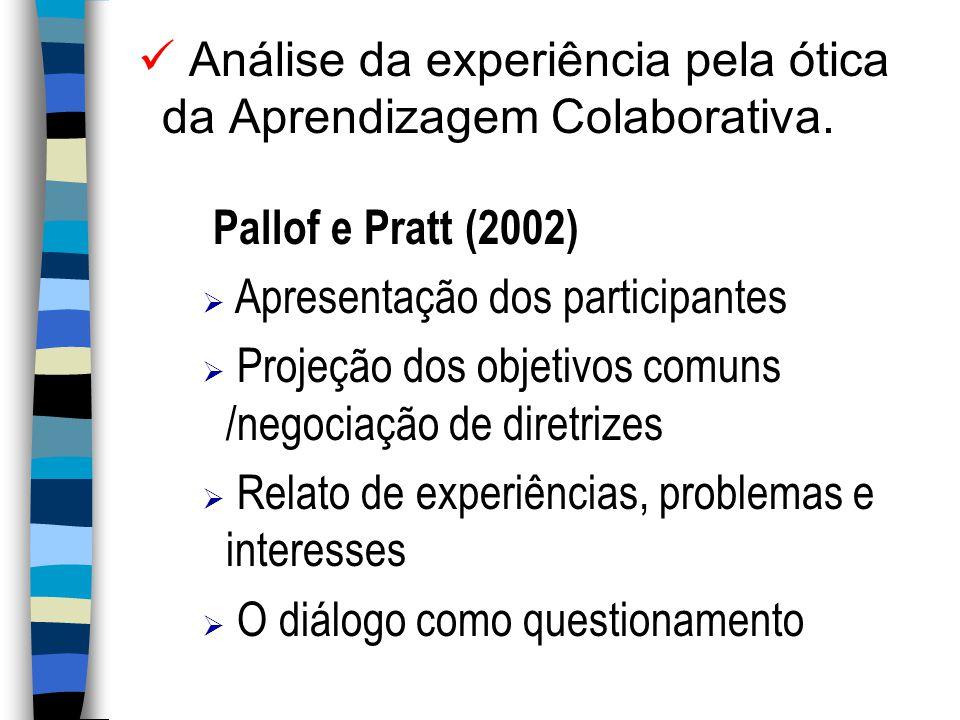 Análise da experiência pela ótica da Aprendizagem Colaborativa.