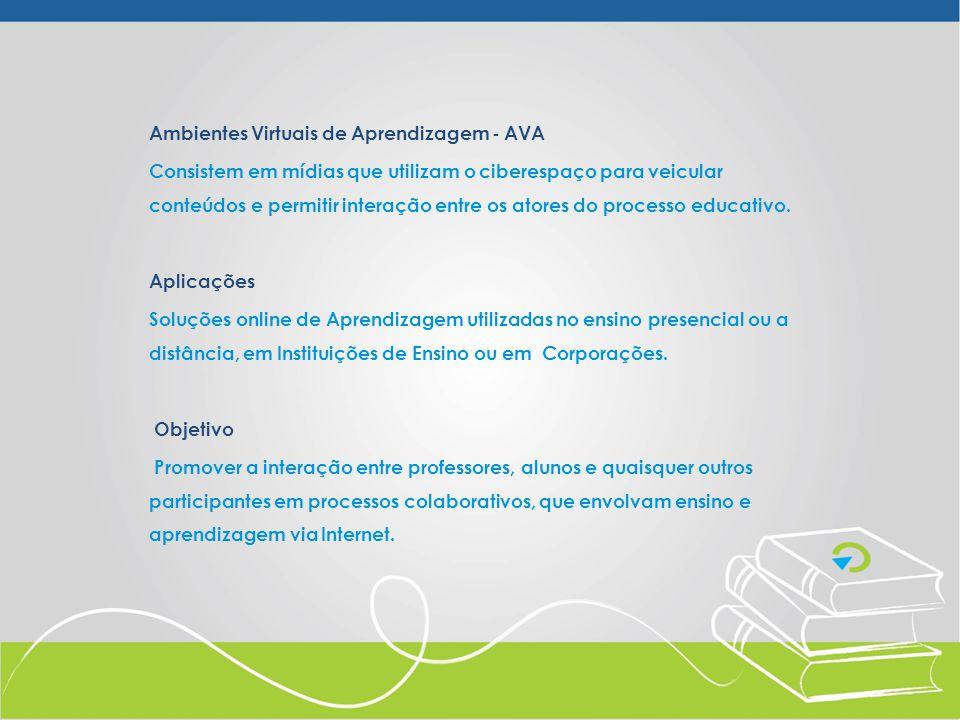 Ambientes Virtuais de Aprendizagem - AVA Consistem em mídias que utilizam o ciberespaço para veicular conteúdos e permitir interação entre os atores d