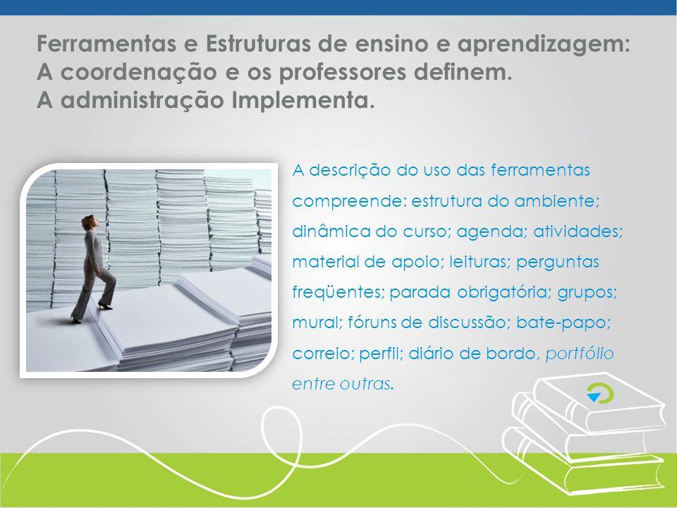 Ferramentas de Administração oferecem recursos de gerenciamento do curso.