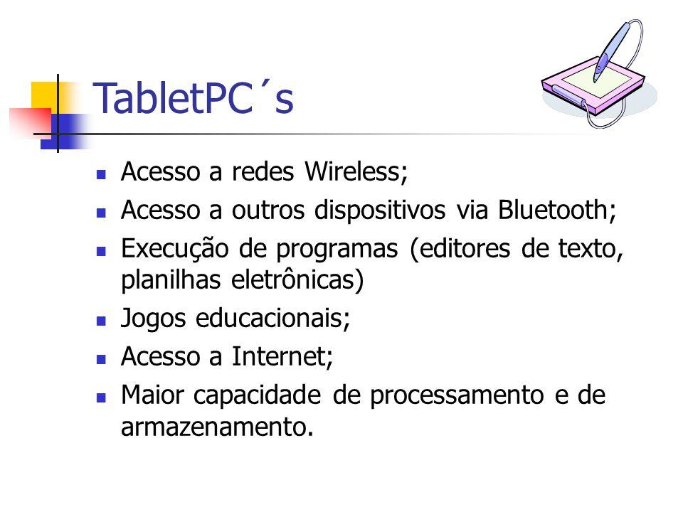 Acesso a redes Wireless; Acesso a outros dispositivos via Bluetooth; Execução de programas (editores de texto, planilhas eletrônicas) Jogos educaciona