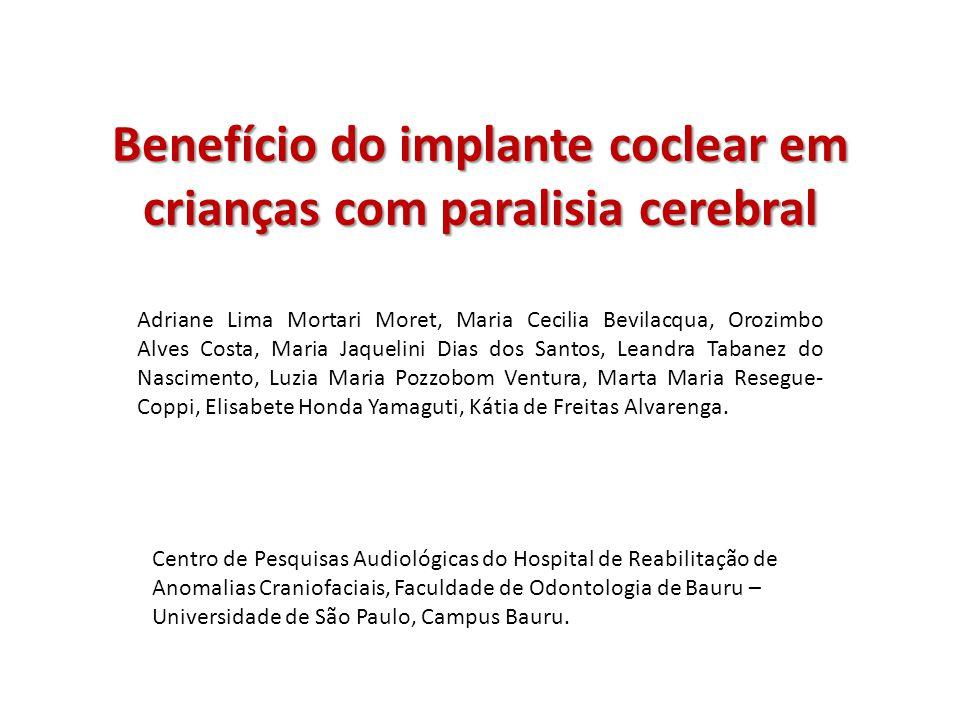 Benefício do implante coclear em crianças com paralisia cerebral Objetivo: caracterizar o desempenho auditivo e de linguagem de crianças com paralisia cerebral usuárias de IC.