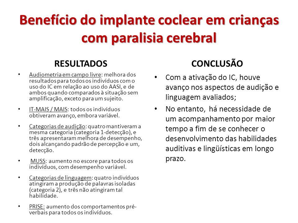 Benefício do implante coclear em crianças com paralisia cerebral RESULTADOS Audiometria em campo livre: melhora dos resultados para todos os indivíduo