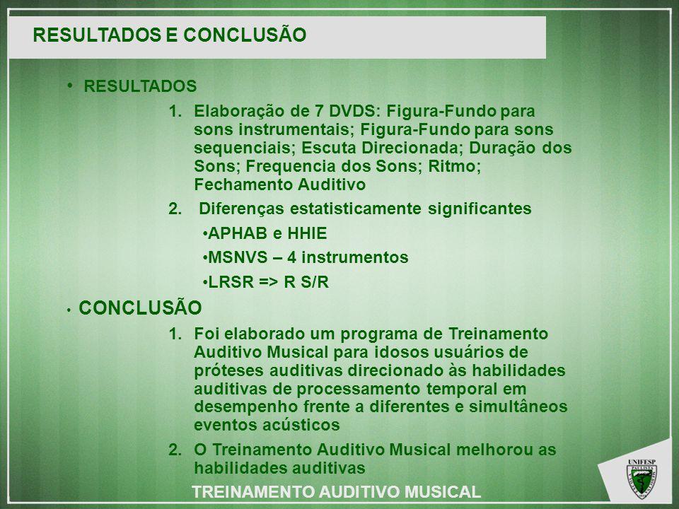 KGMF RESULTADOS E CONCLUSÃO RESULTADOS 1.Elaboração de 7 DVDS: Figura-Fundo para sons instrumentais; Figura-Fundo para sons sequenciais; Escuta Direcionada; Duração dos Sons; Frequencia dos Sons; Ritmo; Fechamento Auditivo 2.