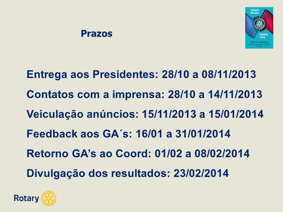 Prazos Entrega aos Presidentes: 28/10 a 08/11/2013 Contatos com a imprensa: 28/10 a 14/11/2013 Veiculação anúncios: 15/11/2013 a 15/01/2014 Feedback aos GA´s: 16/01 a 31/01/2014 Retorno GAs ao Coord: 01/02 a 08/02/2014 Divulgação dos resultados: 23/02/2014