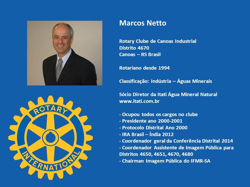 Marcos Netto Rotary Clube de Canoas Industrial Distrito 4670 Canoas – RS Brasil Rotariano desde 1994 Classificação: Indústria – Águas Minerais Sócio D