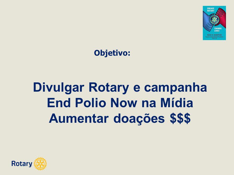 Objetivo: Divulgar Rotary e campanha End Polio Now na Mídia Aumentar doações $$$