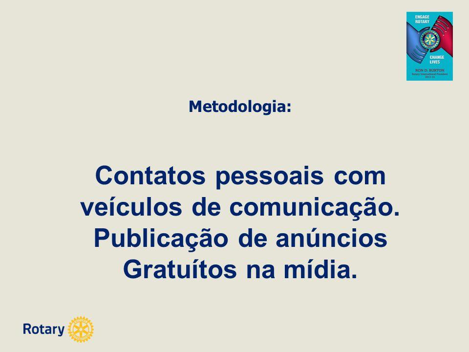 Metodologia: Contatos pessoais com veículos de comunicação. Publicação de anúncios Gratuítos na mídia.