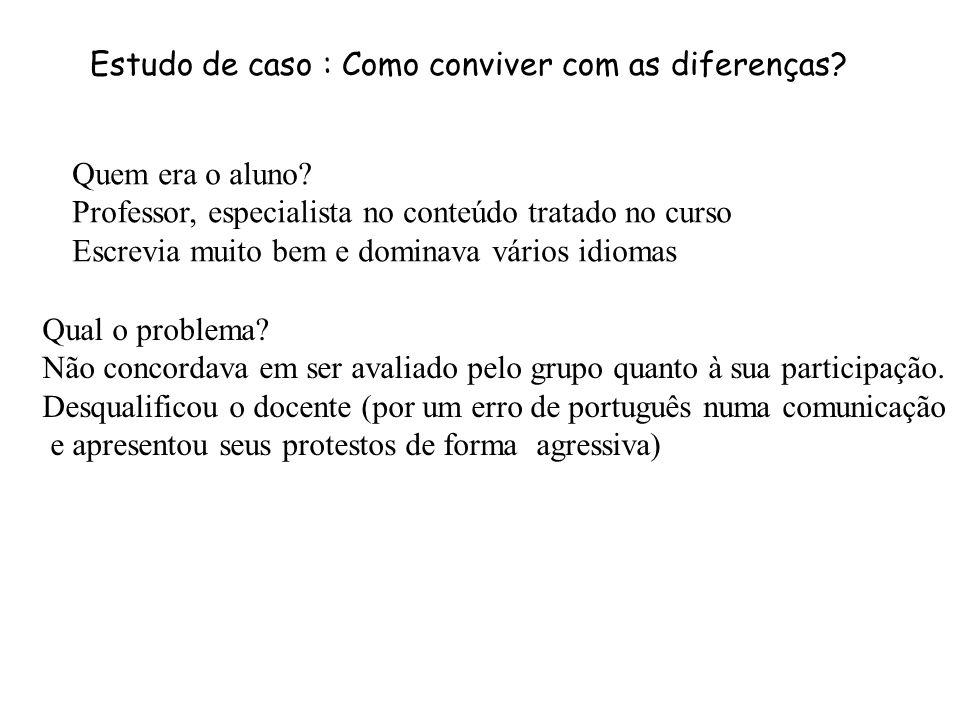 Estudo de caso : Como conviver com as diferenças.Quem era o aluno.