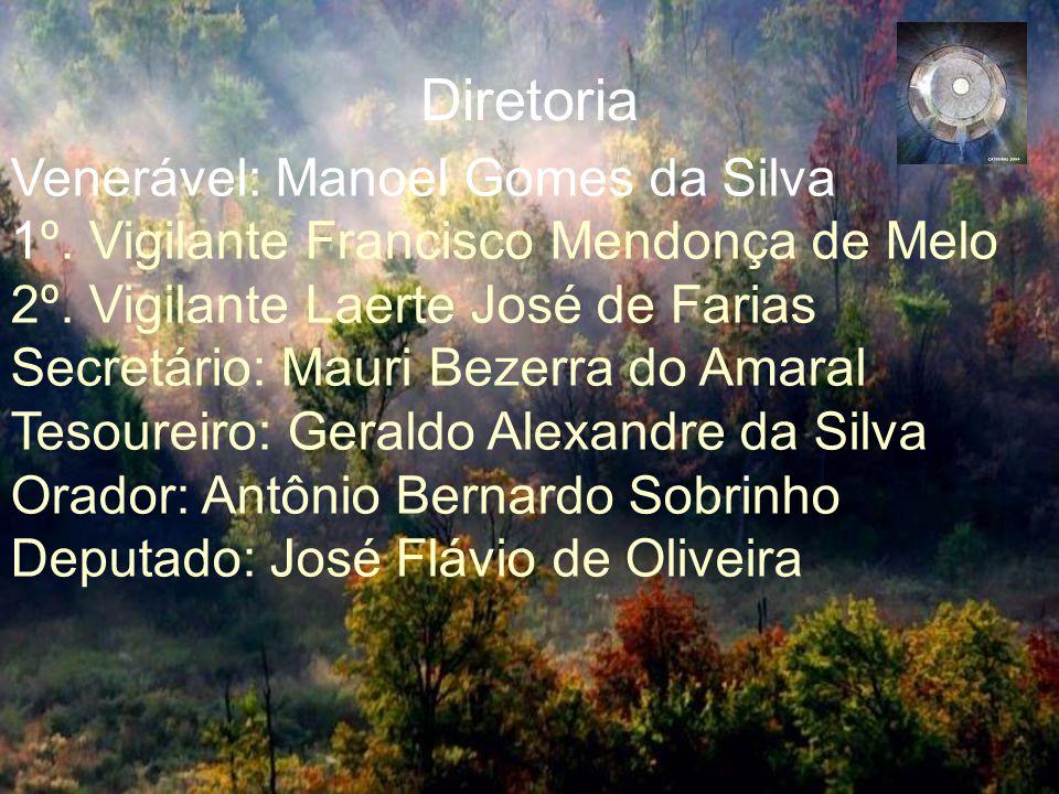 Diretoria Venerável: Manoel Gomes da Silva 1º.Vigilante Francisco Mendonça de Melo 2º.