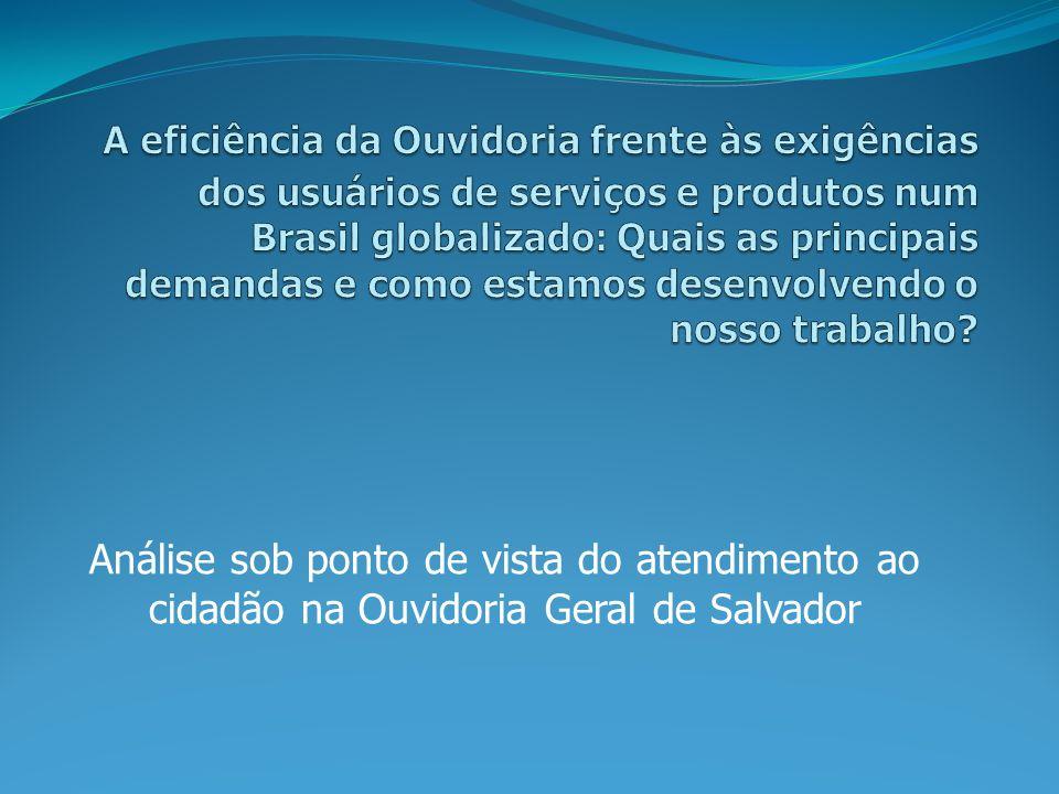 Análise sob ponto de vista do atendimento ao cidadão na Ouvidoria Geral de Salvador