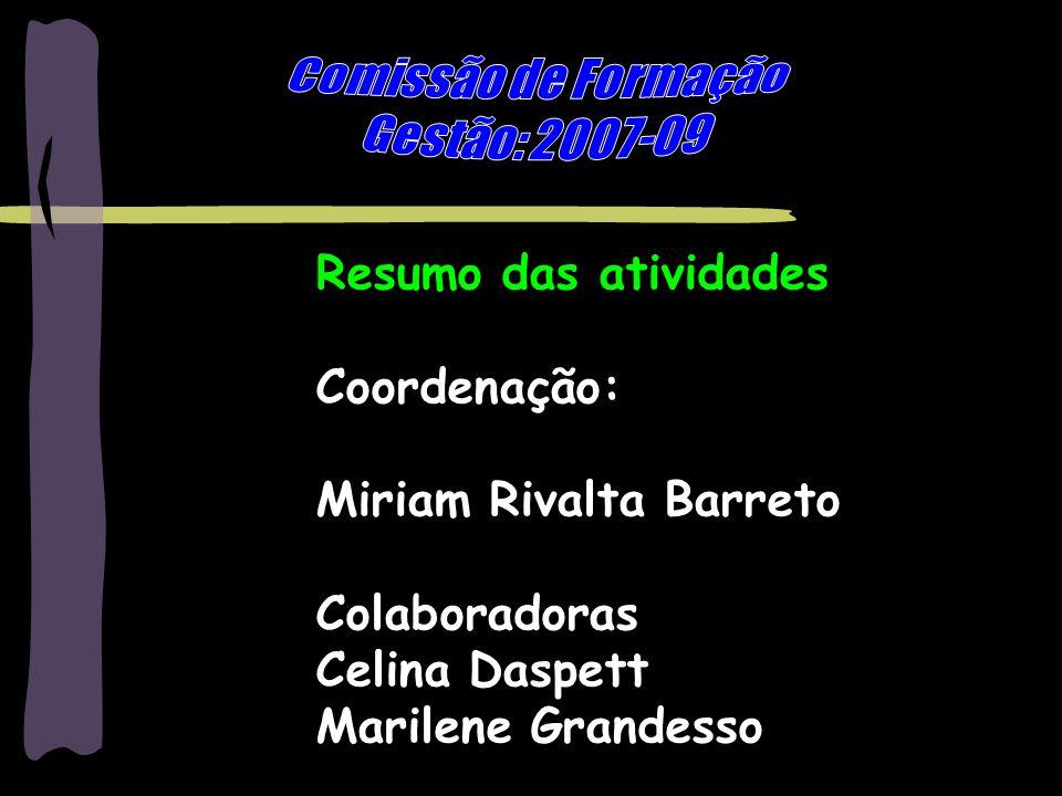 Marilene Grandesso - mgrandesso@uol.com.br1 Resumo das atividades Coordenação: Miriam Rivalta Barreto Colaboradoras Celina Daspett Marilene Grandesso