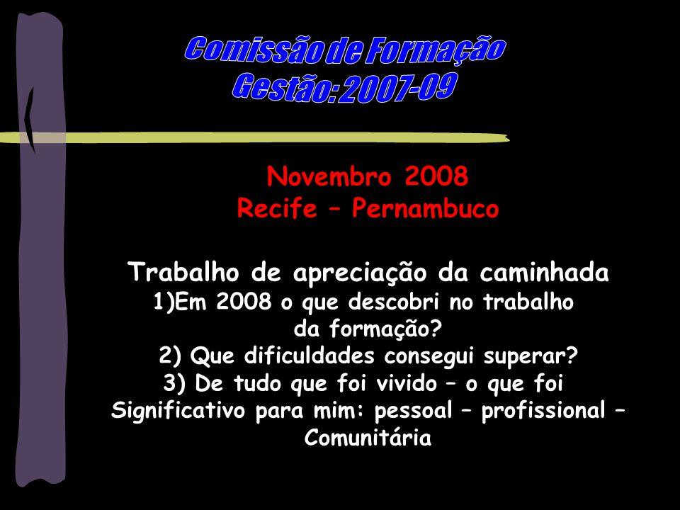 Marilene Grandesso - mgrandesso@uol.com.br3 Novembro 2008 Recife – Pernambuco Trabalho de apreciação da caminhada 1)Em 2008 o que descobri no trabalho da formação.