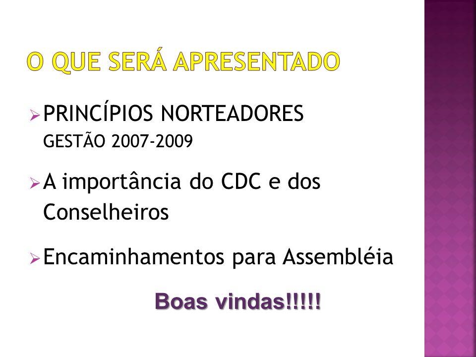 PRINCÍPIOS NORTEADORES GESTÃO 2007-2009 A importância do CDC e dos Conselheiros Encaminhamentos para Assembléia Boas vindas!!!!!