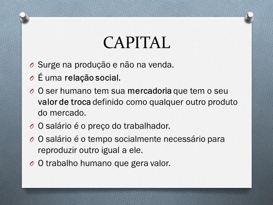 CAPITAL O Surge na produção e não na venda. O É uma relação social. O O ser humano tem sua mercadoria que tem o seu valor de troca definido como qualq