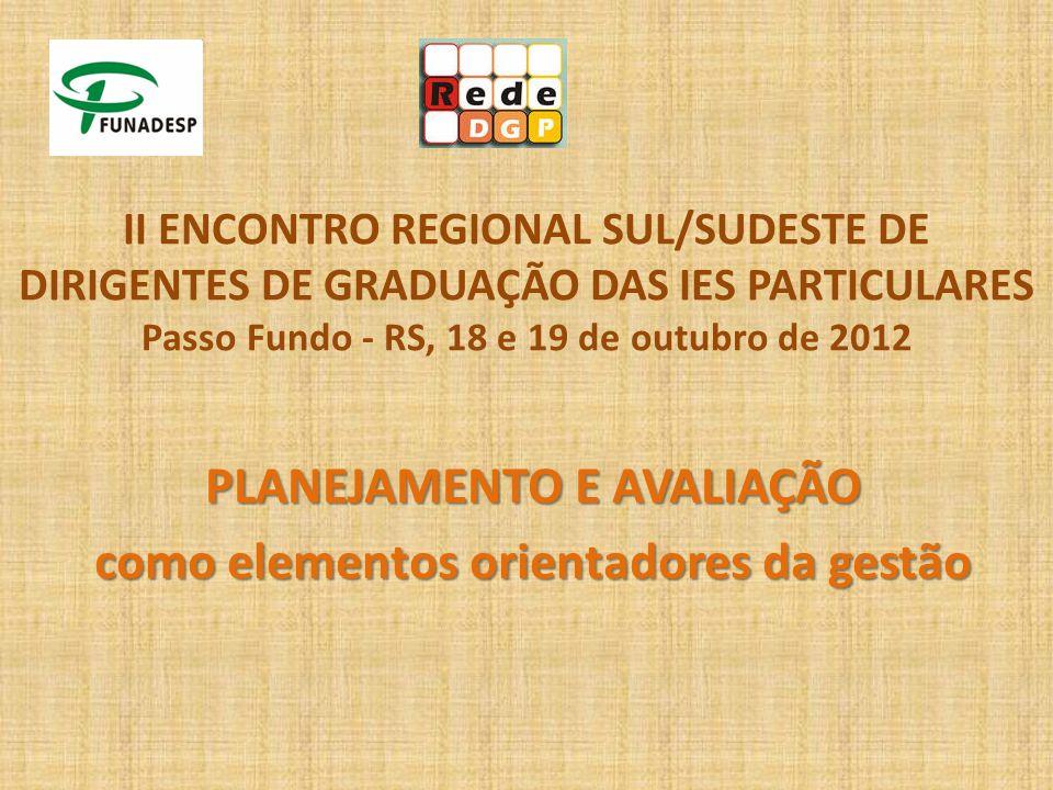 II ENCONTRO REGIONAL SUL/SUDESTE DE DIRIGENTES DE GRADUAÇÃO DAS IES PARTICULARES Passo Fundo - RS, 18 e 19 de outubro de 2012 PLANEJAMENTO E AVALIAÇÃO como elementos orientadores da gestão