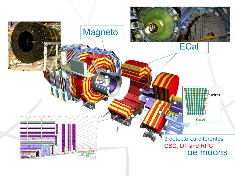 Trajetória ECal HCal Sistema de muons Magneto 3 detectores diferentes CSC, DT and RPC