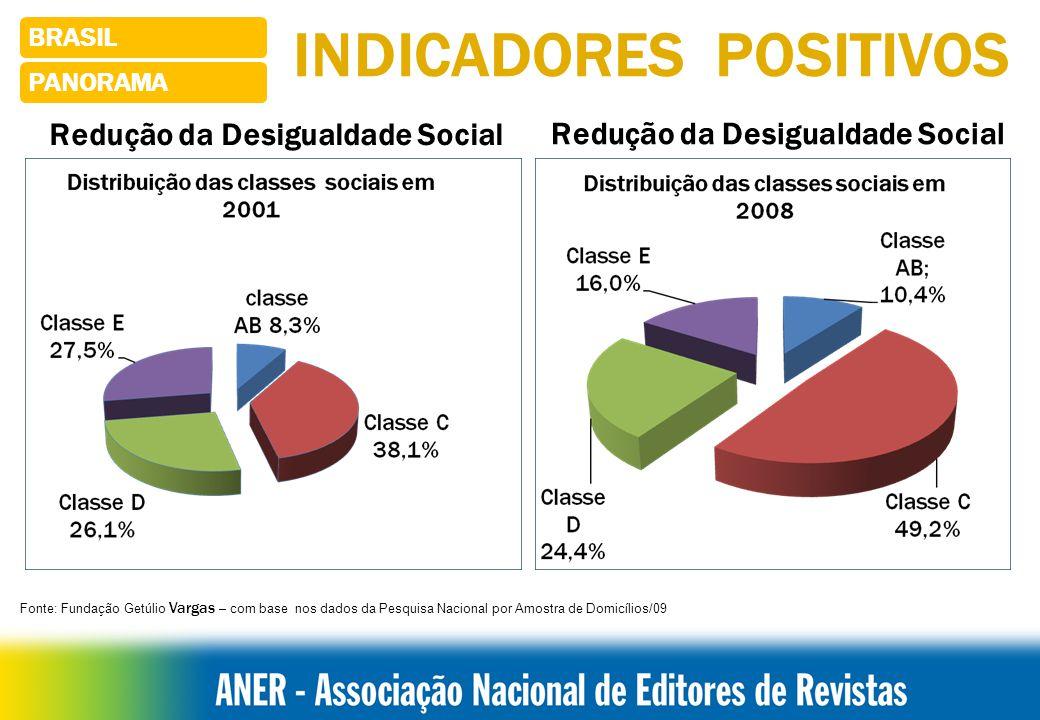 INDICADORES POSITIVOS Redução da Desigualdade Social BRASIL PANORAMA Fonte: Fundação Getúlio Vargas – com base nos dados da Pesquisa Nacional por Amostra de Domicílios/09