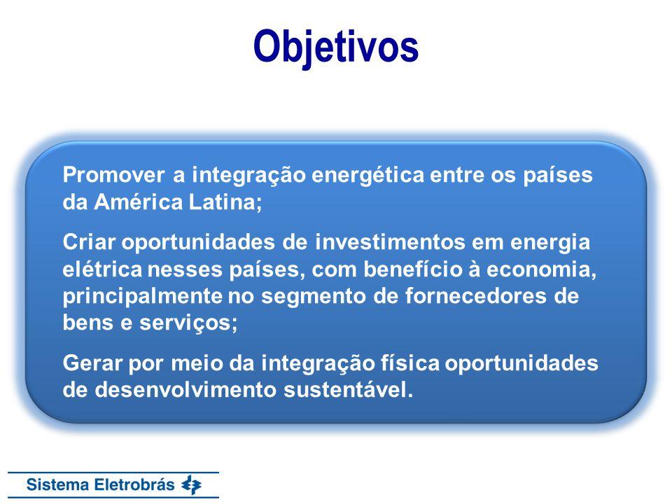 Objetivos Promover a integração energética entre os países da América Latina; Criar oportunidades de investimentos em energia elétrica nesses países,