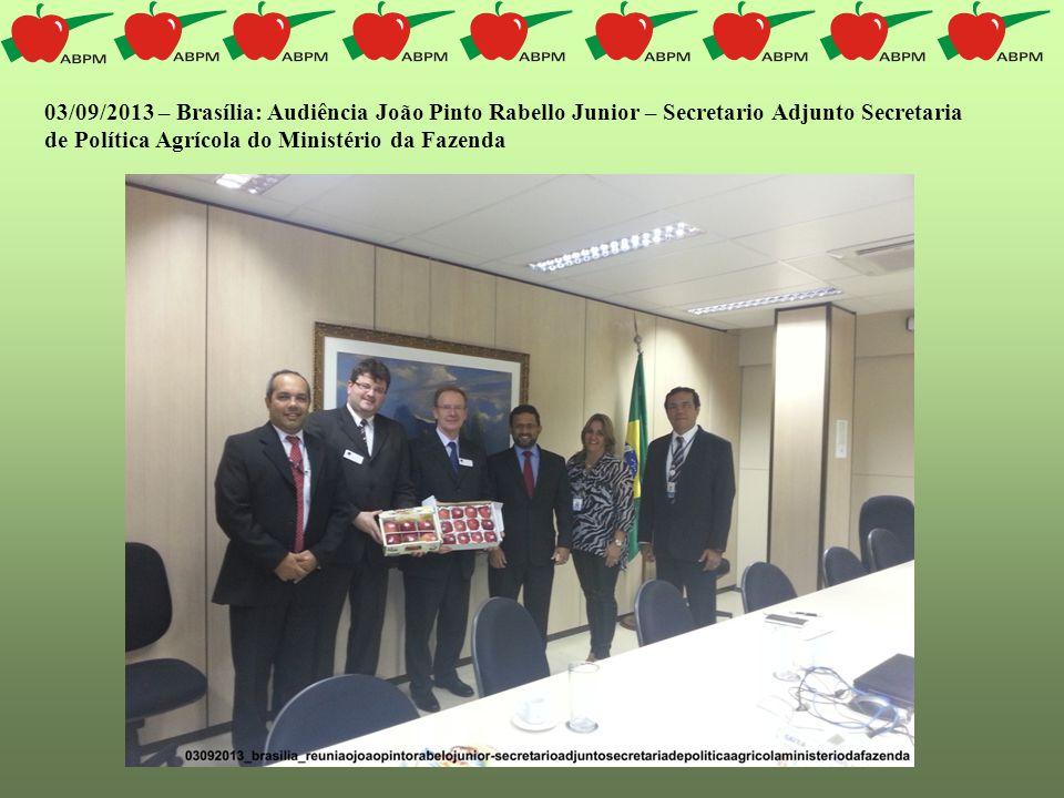 03/09/2013 – Brasília: Audiência João Pinto Rabello Junior – Secretario Adjunto Secretaria de Política Agrícola do Ministério da Fazenda