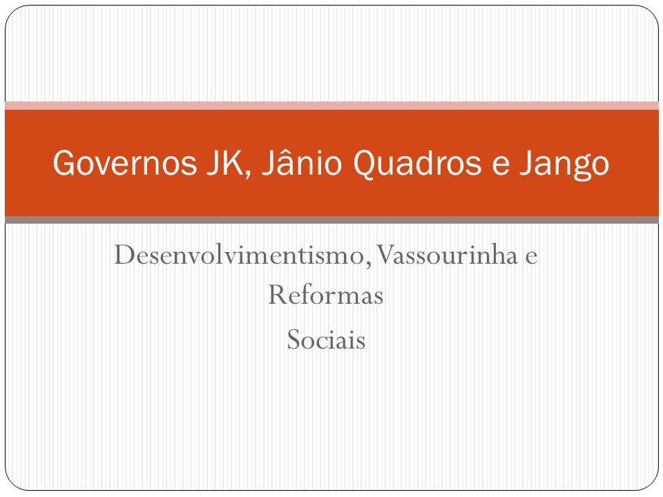 Desenvolvimentismo, Vassourinha e Reformas Sociais Governos JK, Jânio Quadros e Jango