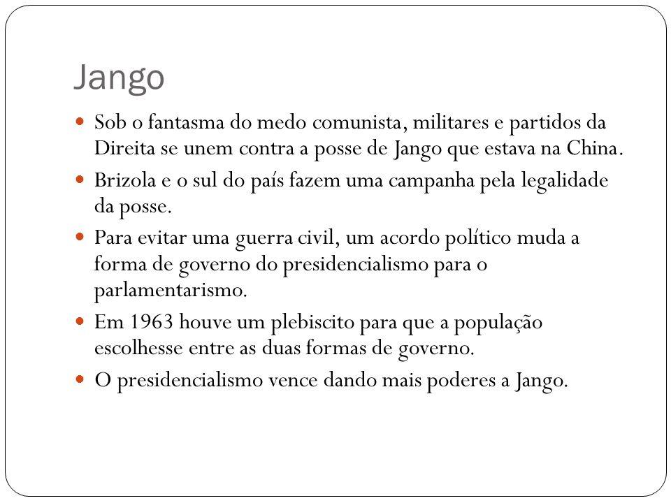 Jango Convivendo com as ameaças de um golpe pelas forças de direita e com a crise social, Jango lança reformas de base em comícios para ganhar o apoio popular.