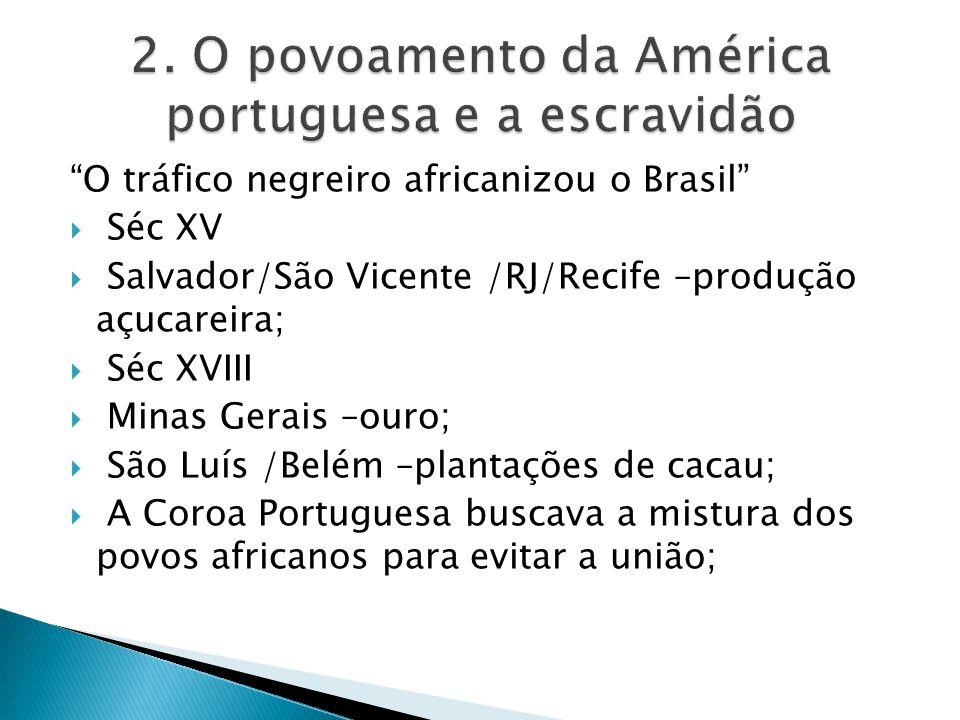 O tráfico negreiro africanizou o Brasil Séc XV Salvador/São Vicente /RJ/Recife –produção açucareira; Séc XVIII Minas Gerais –ouro; São Luís /Belém –pl