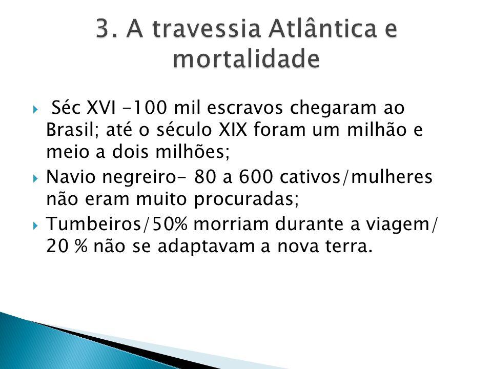 Séc XVI -100 mil escravos chegaram ao Brasil; até o século XIX foram um milhão e meio a dois milhões; Navio negreiro- 80 a 600 cativos/mulheres não er