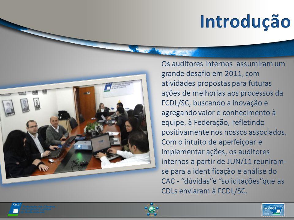 Os auditores internos assumiram um grande desafio em 2011, com atividades propostas para futuras ações de melhorias aos processos da FCDL/SC, buscando a inovação e agregando valor e conhecimento à equipe, à Federação, refletindo positivamente nos nossos associados.