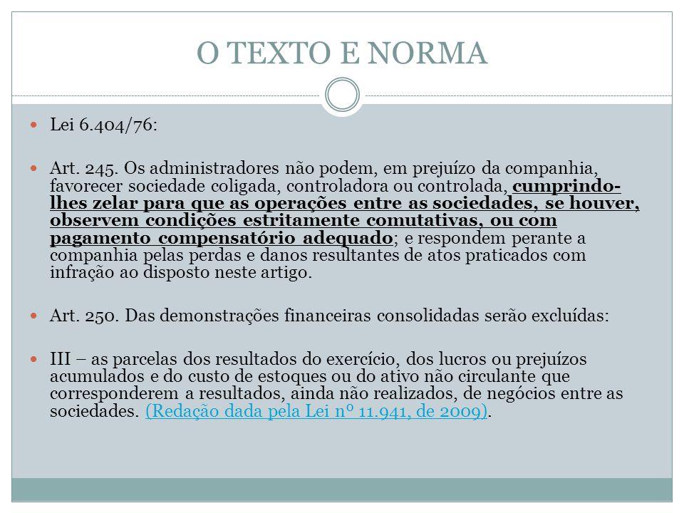 O TEXTO E NORMA Lei 6.404/76: Art. 245. Os administradores não podem, em prejuízo da companhia, favorecer sociedade coligada, controladora ou controla