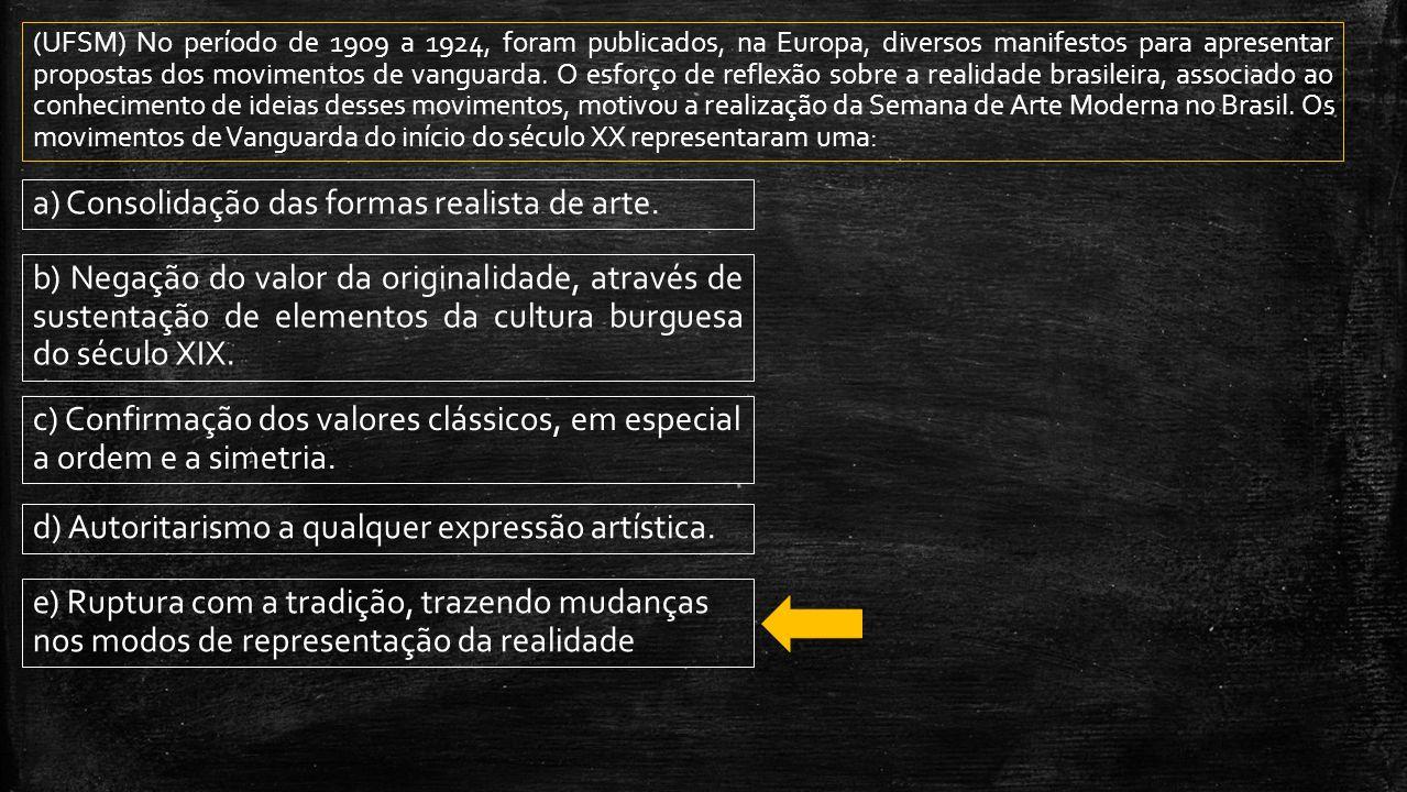 (UFSM) No período de 1909 a 1924, foram publicados, na Europa, diversos manifestos para apresentar propostas dos movimentos de vanguarda. O esforço de
