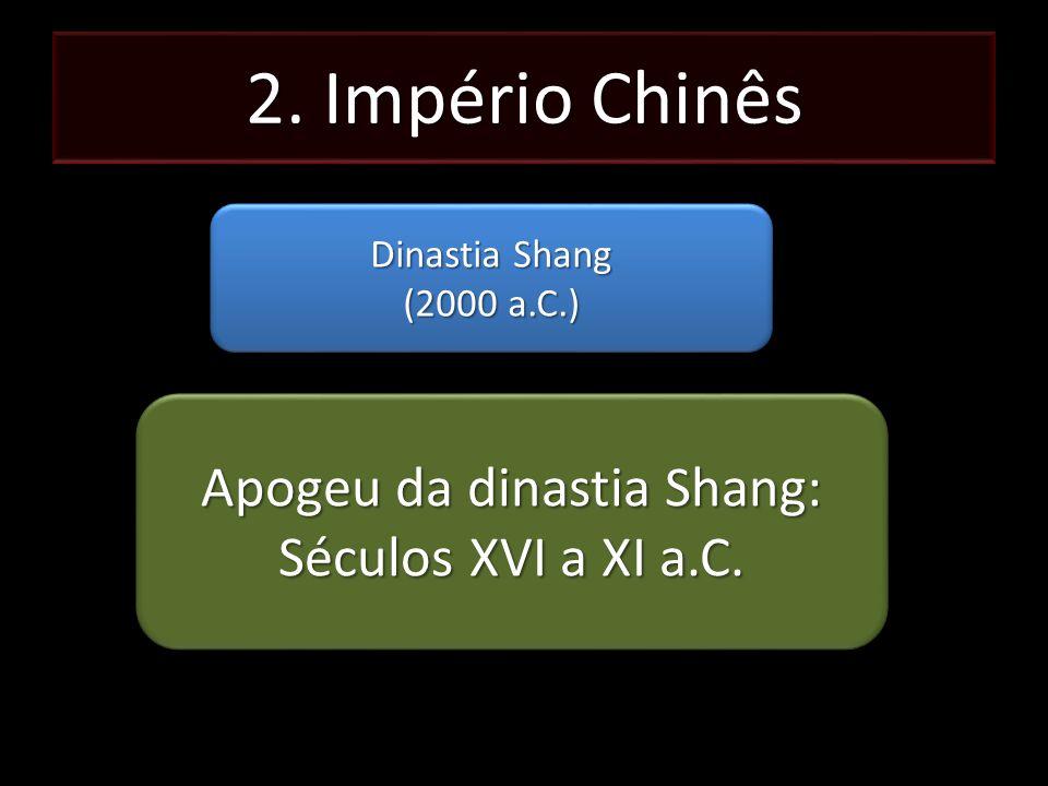 2. Império Chinês Dinastia Shang (2000 a.C.) Dinastia Shang (2000 a.C.) Apogeu da dinastia Shang: Séculos XVI a XI a.C. Apogeu da dinastia Shang: Sécu