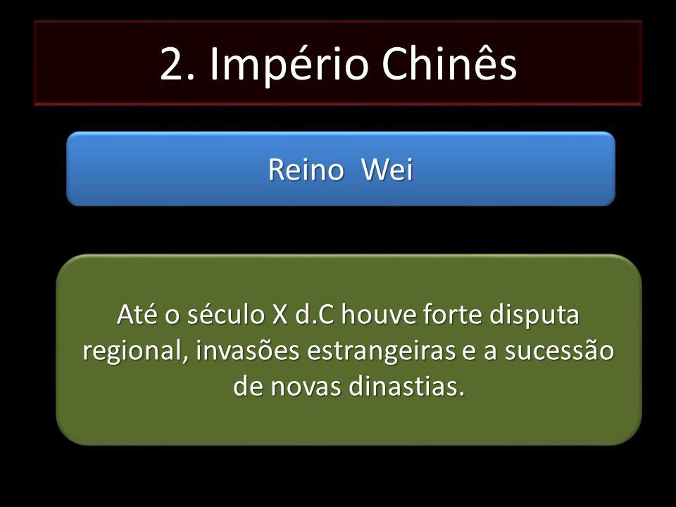 2. Império Chinês Reino Wei Até o século X d.C houve forte disputa regional, invasões estrangeiras e a sucessão de novas dinastias.