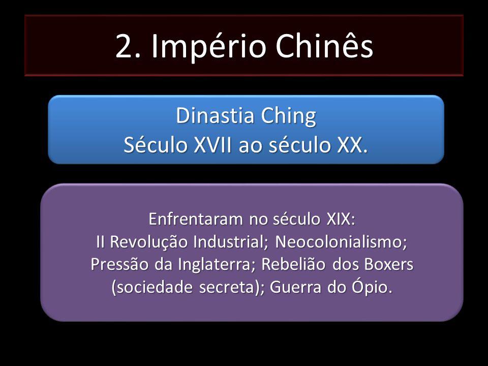 2. Império Chinês Dinastia Ching Século XVII ao século XX. Dinastia Ching Século XVII ao século XX. Enfrentaram no século XIX: II Revolução Industrial