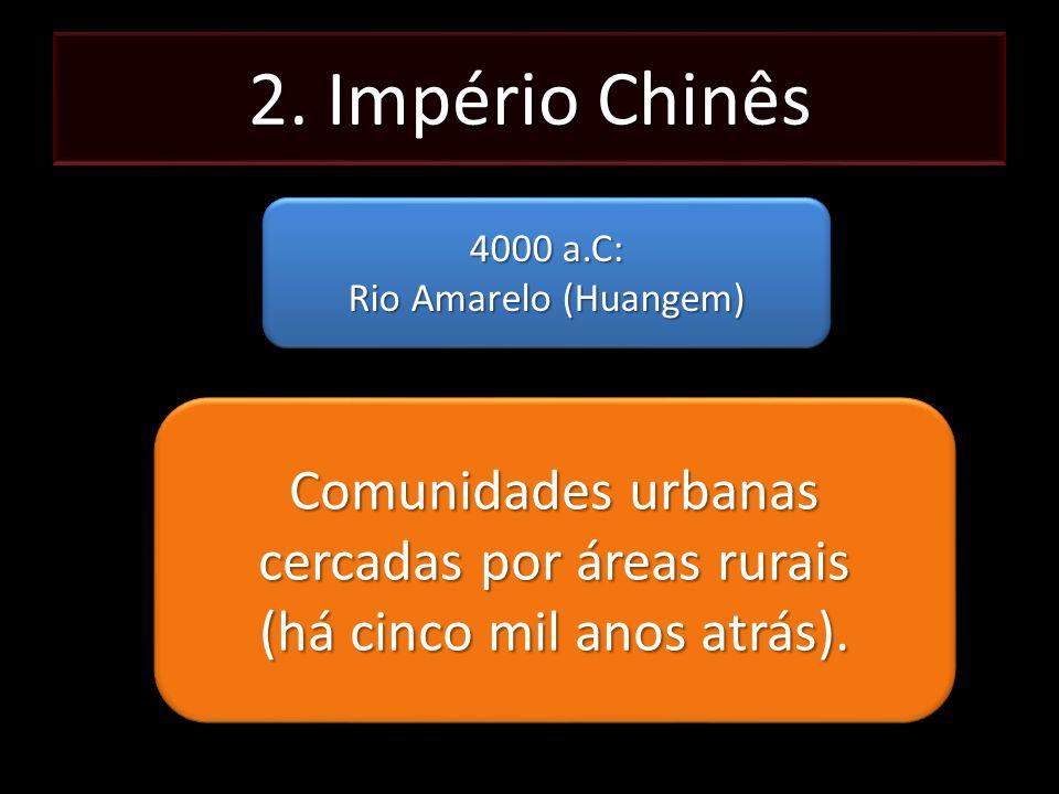 2. Império Chinês 4000 a.C: Rio Amarelo (Huangem) 4000 a.C: Rio Amarelo (Huangem) Comunidades urbanas cercadas por áreas rurais (há cinco mil anos atr